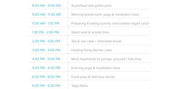 Detox Yoga Retreat Daily Timetable