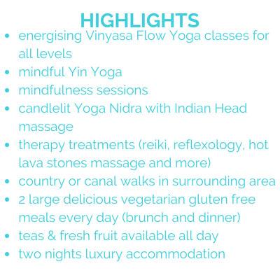 Restorative Mindful Yoga Retreat Highlights Text on White Background